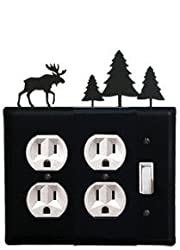 Eoos-22 Moose & Pine Trees Double Outlet Single Switch Electric Cover