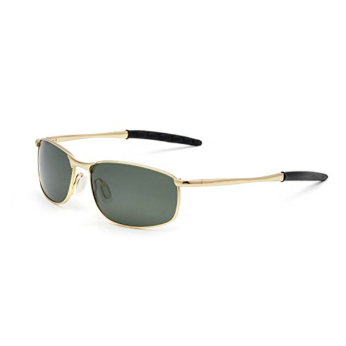 ZOGEEN Polarized Sunglasses For Men Rectangle Metal Frame Retro Sun Glasses A395 (Gold& G15 - Face Oval For Shape What Sunglasses