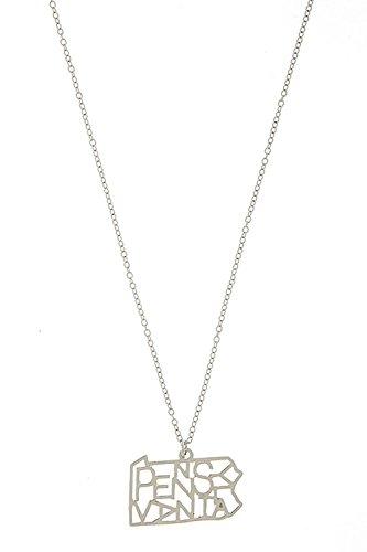 TRENDY FASHION JEWELRY HIDDEN PENNSYLVANIA NECKLACE BY FASHION DESTINATION   (Silver) (Custom Costume Hip Hop Jewelry)