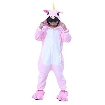 WhiFan Franela con Capucha Pijama + Pata algodón Zapatos,Unicornio Animal Pijama Entero Adulto Niños