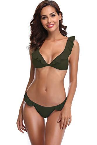(SHEKINI Women's Ruffles Flounce Cute Bikini Two Piece Swimsuit Bathing Suits(Small/(US 4-6), Olive Green))