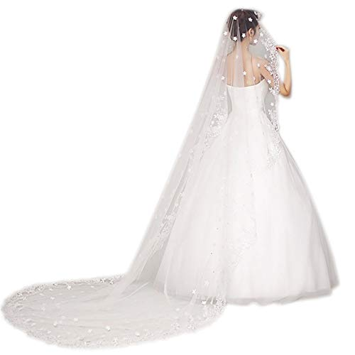 roroz 1 Tier Cathedral Wedding Veil/White Long Tail Tulle,Veil Lace, Handmade Custom,Lovely Elegant Embroidered Petal 3.6m,White