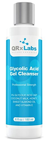 Glycolic Acid Cleanser - Exfoliating Face Wash, Best for Wrinkles, Lines, Acne, Spots & Chemical Peel Prep with Coconut Milk, Honey & Sweet Almond Oil - 1 bottle of 6 -