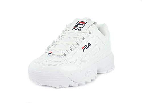 Sneakers White Fila (Fila Women's Disruptor II Premium Patent Sneakers, White Navy Red, 8.5 M US)