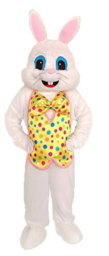 Riekinc Adult Yellow Vest Easter Bunny Costume Kit Plush Rabbit Animal Mascot ()