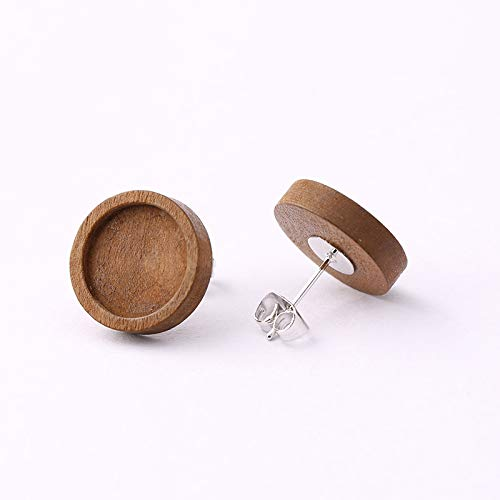 SHUNAE 40 pcs 12mm Brown Wood & Stainless Steel cabochon Earring Stud Base Blanks White K Plated Earrings Post for DIY Jewelry Making