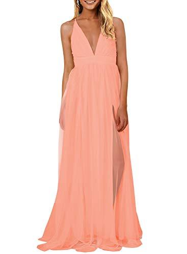 (MIHOLL Women's Elegant Long Dress Deep V Neck Slit Mesh Flowy Evening Prom Maxi Dresses (Large, 03 Pink))