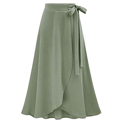 Fashion Lady High Waist Skirt Female Irregular Split Bandage Nightclub/bar/dating Urban wind Skirt Long Skirt(Green,XXL=US:XL)