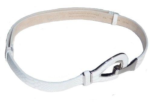 BeltsandStuds Women Designer Leather Adjustable Belt with Silver Buckle Off-White