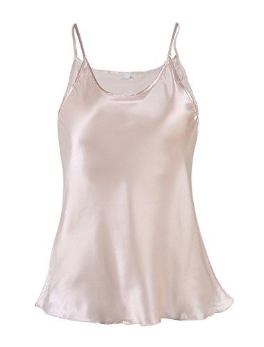 uxcell Women Plain Slim Fit Spagetti Straps Satin Cami Tank Tops Cream XL