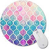 Non-Skid Rubber Pad Personalized Round Desktop Mousepad, Colorful Rainbow Moroccan design