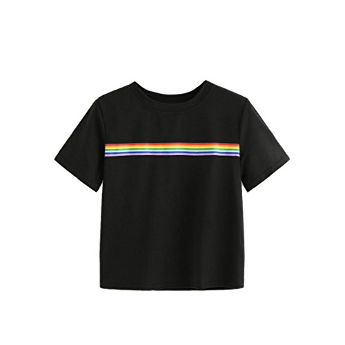 ANJUNIE tops Women's Blouse,Summer Rainbow Block Striped Crop Top Casual Girl Teen T Shirts (Black,L) -