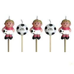 Lovely Chubblies Soccer and Soccer Ball Birthday Candles- Pack of 5