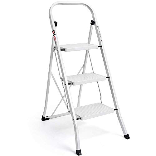(Delxo 3 Step Ladder Folding Step Stool Ladder with Handgrip Anti-Slip Sturdy and Wide Pedal Multi-Use for Household and Office Portable Step Stool Steel 330lbs White)