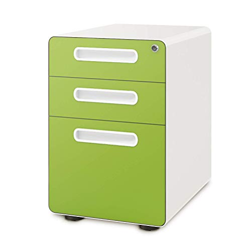 DEVAISE 3-Drawer Mobile File Cabinet with Anti-tilt Mechanism, Legal/Letter Size, Green
