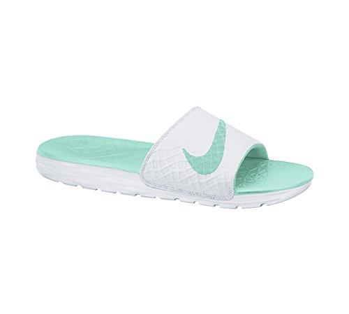 Nike Vrouwen Benassi Solarsoft Dia Sandelhout Witte Ambachtelijke Groenblauw