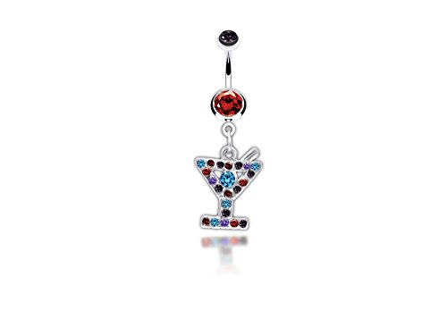 Martini Glass Dangle Surgical Steel Belly Button Ring 14G 3/8 Bar length With Cubic - Dangle Glass Belly Ring Martini