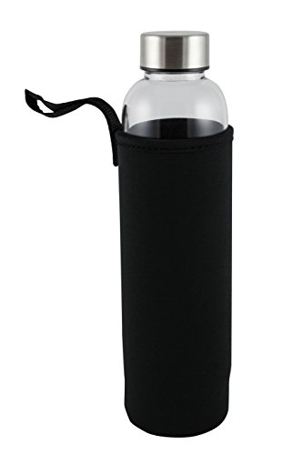 Primula Cold Brew Travel Bottle with Black Insulating Neoprene Sleeve - Borosilicate Glass and Stainless Steel Mesh Core - Dishwasher Safe - 20 oz. - Clear, (Primula Safe)