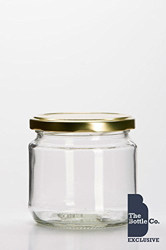 BOTTLE COMPANY 8 X 380ML/1LB APPROX ROUND SQUAT GLASS JAM JARS,CHUTNEY,PICKLE,CANDLE,SWEET,HONEY,WEDDING FAVOUR JAR C/W GOLD LIDS by THE BOTTLE COMPANY