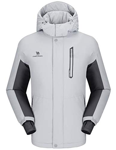 CAMEL CROWN Ski Jacket Men Waterproof Warm Cotton Winter Snow Coat Mountain Snowboard Windbreaker Hooded Raincoat Silver Grey M
