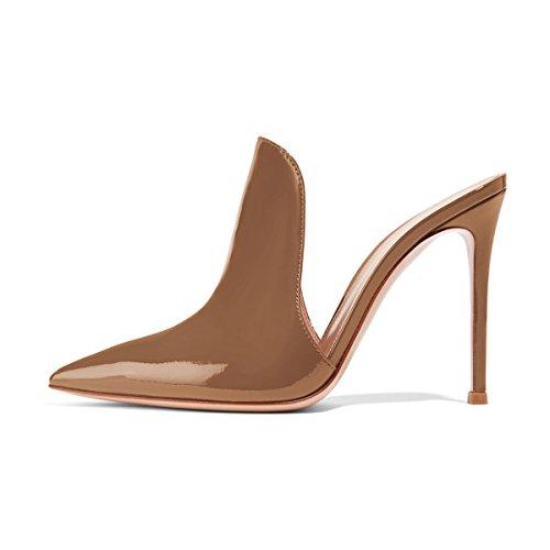 (FSJ Women Pointed Toe Mule Sandals Slide Slippers Stiletto High Heels Slip on Shoes Size 8 Brown-12 cm )