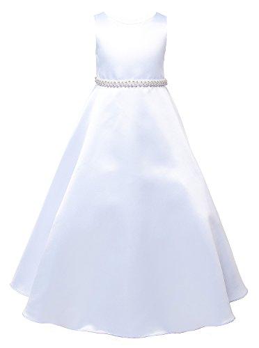OLIVIA KOO Girls Graceful White Full A Line Satin Communion Dress for $<!--$24.99-->