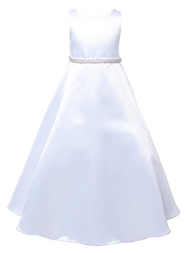 OLIVIA KOO Girls Graceful White Full A Line Satin Communion Dress