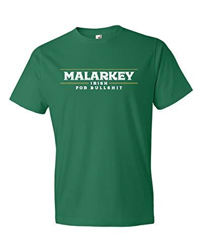 Panoware Men's St Patricks Day T-Shirt | Malarkey Irish for Bullshit, Kelly Green, -