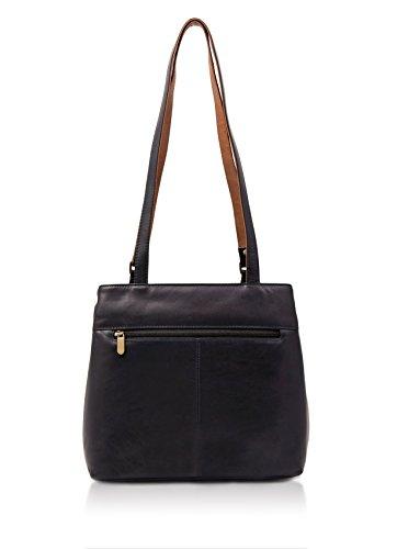 Bag mbrn Leather Navy Colourblock Shoulder Zipped qX6Hxft