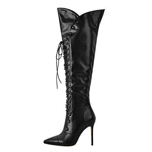 Yolkomo Knee High Boots for Women Wide Calf Over The Knee Boots Comfortable 4in Heel