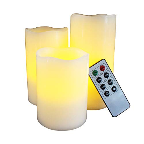 LED Lytes Flameless Candles, Set of 3 Battery Candles with Ivory Wax and Amber Flame and Auto-Off Timer Remote Control ()