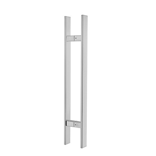 TOGU TG-6018 12inches Square/Rectangle H-shape/Ladder Style Back to Back Stainless Steel Push Pull Door Handle for Solid Wood,Timber,Glass and Steel Doors,Full Brushed Stainless Steel Finish