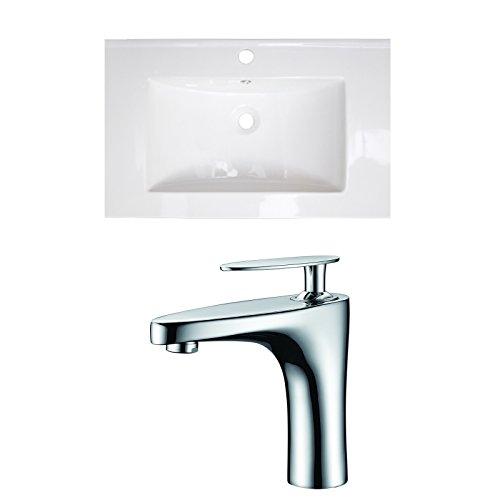 "UPC 871211159616, American Imaginations AI-15961 Ceramic Top Set with Single Hole CUPC Faucet, 30"" x 18"", White"