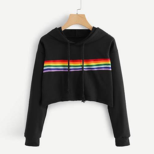 Chemise Manteau Femmes Blouson Longues Chic Sweat Veste Haut Streetwear Manteaux Chemisier Pullover Tops Capuche Sports Courte Pull Shirt Haute Sweat Manches Black Kangrunmy Blouse FxaqRCwOc4