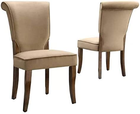 Set of 2 Pershing Armless Design Dining Chair Wood Peat - Inspire Q