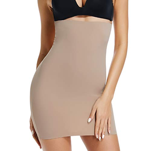 Half Slips for Women Under Dresses High Waist Tummy Control Shapewear Dress Slip Body Shaper Skirt (Beige, Small)