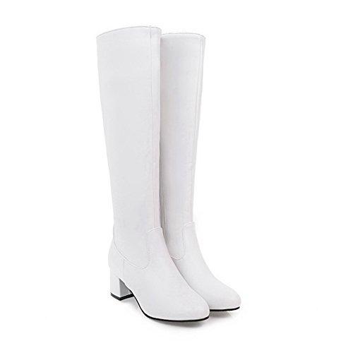 uretano ABL10596 cremallera cierre Blanco de Botas rodilla de BalaMasa con sólida y xwZpqKH