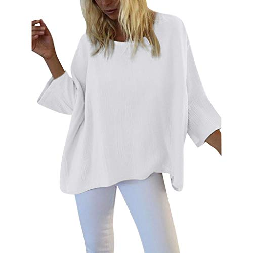 Summer Women's Loose Fashion Recreational Pure Collar Short T-Shirt 2019 Blouse Plus Size White ()