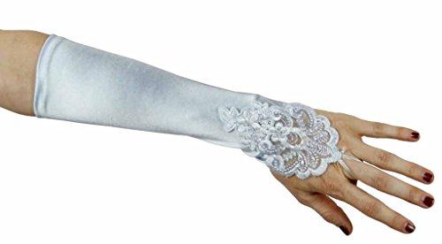 Long Nylon Light Blue Gloves (Sweet Serendipity Satin Fingerless Elbow Gloves with Beads, Light Blue)