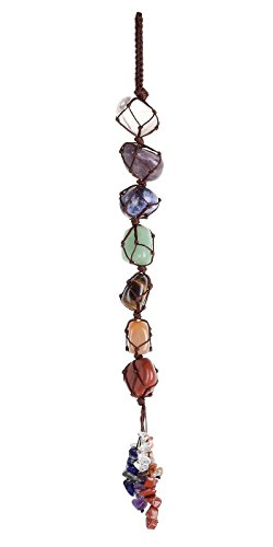 Top Plaza 7 Chakra Gemstones Reiki Healing Crystals Hanging Ornament Home Indoor Decoration for Good Luck,Yoga Meditation,Protection - Tumbled Palm Stones ()