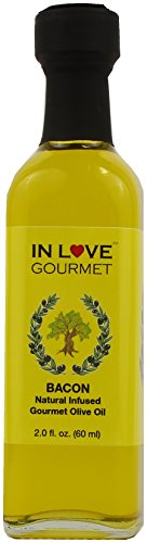 In Love Gourmet Bacon Natural Flavor Infused Olive Oil 60ml-2oz (Sample Size) Best Bacon Oil Choice for Meats, Veggies, Popcorn & Breads
