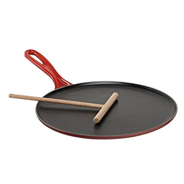 Le Creuset Enameled Cast-Iron 10-2/3-Inch Crepe Pan, Cerise (Cherry Red)