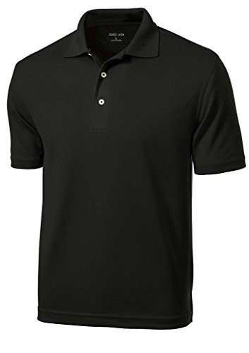 Joe's USA(tm Mens Dri-Mesh Moisture Wicking Golf Shirt-Black-2XL