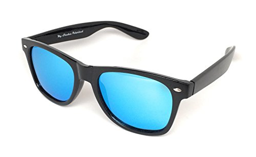 MY SHADES POLARIZED HORN RIM UNISEX 80'S RETRO CLASSIC SUNGLASSES (Black Matte, - Bans Ray Used