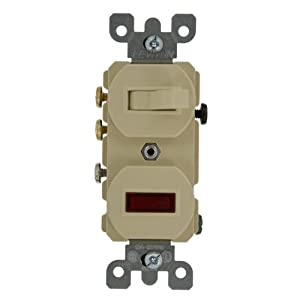 Leviton 5246-I 15A, 120V, Duplex Style 3-Way, Neon Pilot AC Combination Switch, Commercial Grade, Ivory
