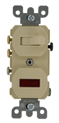 - Leviton 5246-I 15A, 120V, Duplex Style 3-Way, Neon Pilot AC Combination Switch, Commercial Grade, Ivory