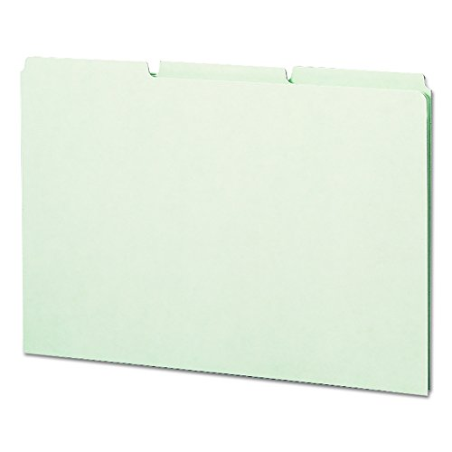 Smead 100% Recycled Pressboard File Guides, 1/3-Cut Tab (Blank), Legal Size, Gray/Green, 50 per Box (52334) Pressboard Self Tab File Guides