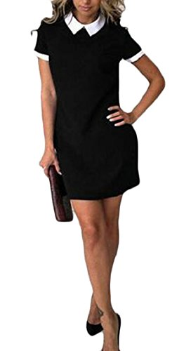 Jaycargogo Womens Manches Courtes Usure De Revers D'été Pour Travailler Noir Robe Chemise Cintrée