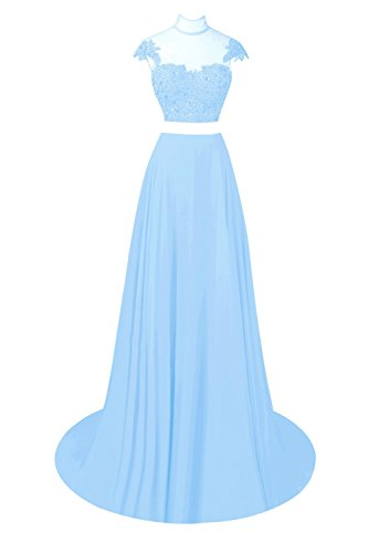 Blue Beaded Pieces Bess Lace Sky High Two Prom Dresses Party Women's Bridal Neck twwfXq7H