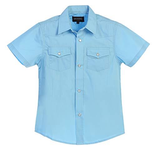 (Gioberti Boys Solid Short Sleeve Western Shirt, Light Blue Size 8)